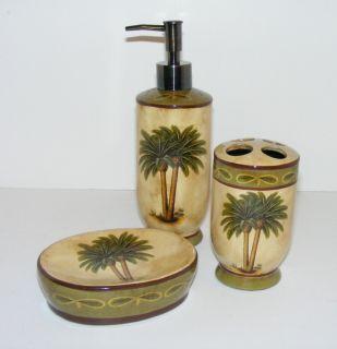 Palm tree bathroom accessories