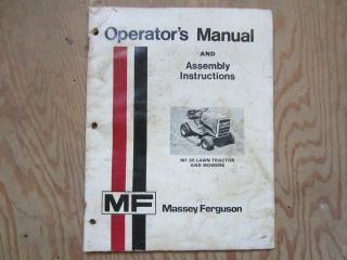 Massey Ferguson MF 85 Lawn Tractor and Mowers Operators Manual issued