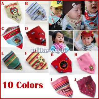 1x Baby Stay Dry Dribble Bandana Bibs Triangle Head Scarf for Boy Girl