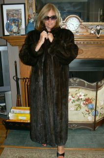 Gorgeous Basile Full Length Mahogany Mink Fur Coat