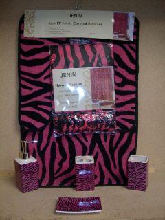 19pcs Bath Accessory Set Sexy Pink Zebra Print Bathroom Rugs Shower