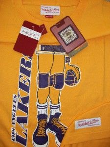 lakers mitchell ness nba knee pads shirt size large 44 new nba tags
