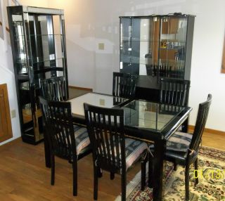 Black Lacquer Dining Room Set table 6 chairs hutch display curio