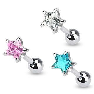 Cartilage Labret Tragus Barbell 5mm Star CZ Ring Stud Piercing Earring