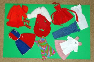 Vintage Barbie Big lot of clothes with excellent WHITE SILK sheath