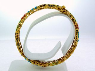 Fine India Estate 22K Yellow Gold Multi Gemstone Bangle Bracelet 23 8