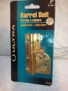 Solid Brass, Barrel Bolt, 2 Slide Door Lock Fits Most Doors New Ultra