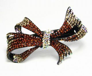 Bow Hair Barrette Clip Pony Holder Austrian Rhinestone Crystal LG