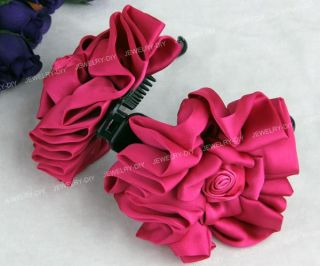 Satin Fuchsia Rose Flower Hair Banana Clip Barrette Gift