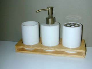 Luxury Bath Tray Set   Ceramic and Wood   Tumbler , Lotion