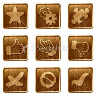 glossy wooden icons vol 12 Royalty Free Stock Vector Art Illustration