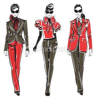 Sect de la mode, Croquis, Robe, Mannequin, Femmes  Stock