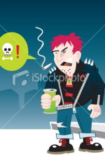 old school punk rocker Royalty Free Stock Vector Art Illustration