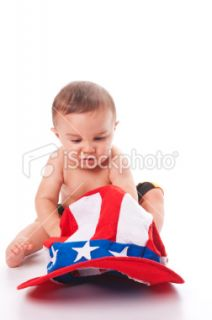 Child with Uncle Sam Hat Royalty Free Stock Photo