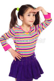Surprised little girl ing away Royalty Free Stock Photo