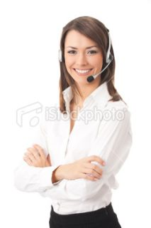 Support phone operator in headset, isolated  Stock Photo  iStock