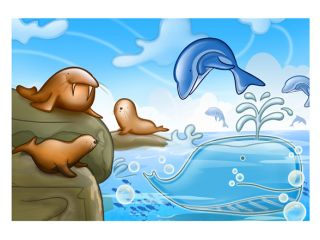 icanvasart Seals, Dolphins and Whale Childrens Art Canvas Print #7107