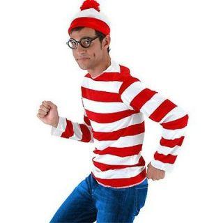WHERES WALDO Adult Mens Halloween Costume Sz S/M Hat Glasses Shirt