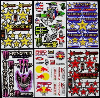 SHEETS STICKERS BIKE SCOOTER MOTOCROSS ENERGY DRINK BMX SKATEBOARD