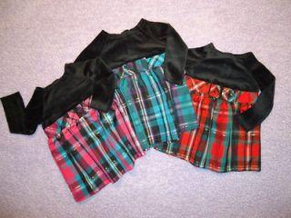 Toddler Girls Christmas Holiday Dress Black Velvet Plaid 12 18 24