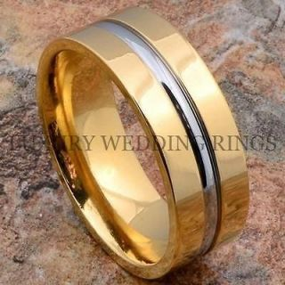 Titanium Ring 14K Gold Mens Wedding Band Silver Color Line Jewelry
