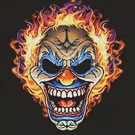 flaming clown skull t shirt joker tattoo bikers emo more