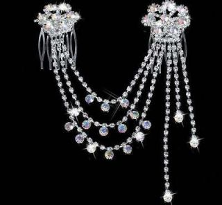 WEDDING BRIDAL bridesmaid AB CRYSTAL RHINESTONE HAIR PINS COMB ZA728