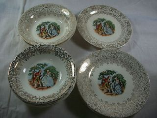 Lot of Royal China Colonial Gold 22 KT Rim Couple Bowls Plates
