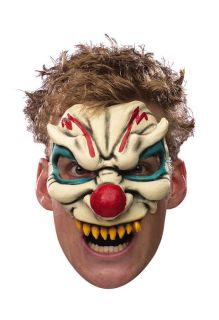 EVIL CLOWN MASK scary chinless it pennywise vinyl adult mens halloween
