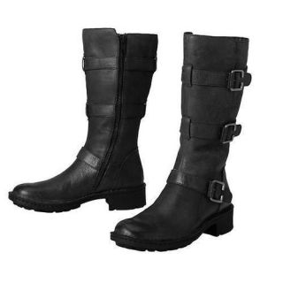 BORN WOMENS TESSA BLACK LEATHER BUCKLE MOTORCYCLE BOOTS SHOES 6 11