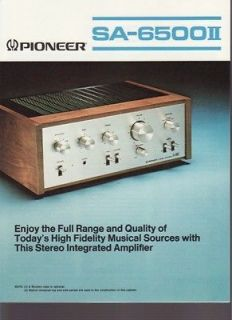 pioneer sa 6500ii integrated amplifier brochure 1976 time left $
