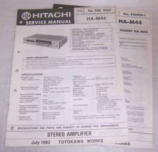 hitachi ha m44 amplifier service manual supplement from canada time