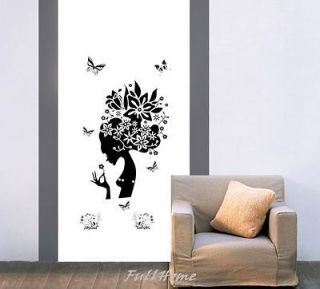 Beautiful Flower Girl Mural Art Wall Stickers Vinyl Decal Removable