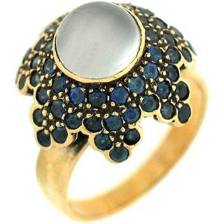 Round Cut Moonstone & Sapphire Ladies Antique Right Hand Ring 14k