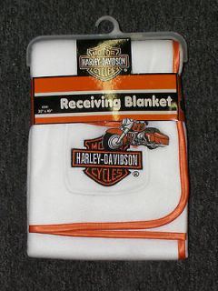 Harley Davidson Baby Fleece Blanket   White Crib Blanket   Infant