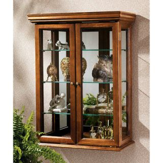 Solid Hardwood Framed Glass Doors Tuscan Wall Hang Curio Collectibles