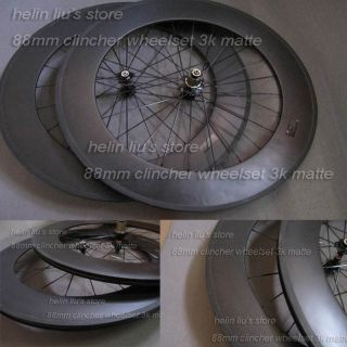 88mm clincher carbon wheelset with 3K Matte finish / carbon fiber bike