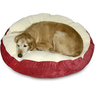 scooter deluxe large round dog bed crimson sherpa 10 %