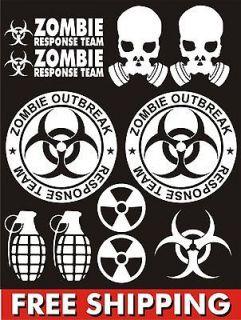 Zombie Outbreak Response Team vinyl decal set funny gasmask biohazard