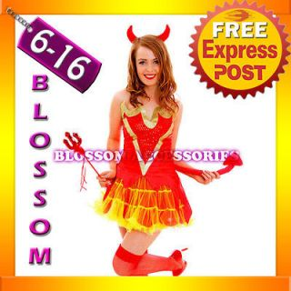 G56 Devil Ladies Horror Fancy Dress Halloween Costume Outfit Horns