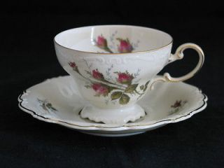 Moss Rose on Ivory Pompadour Footed Cup and Saucer set, Rosenthal Selb