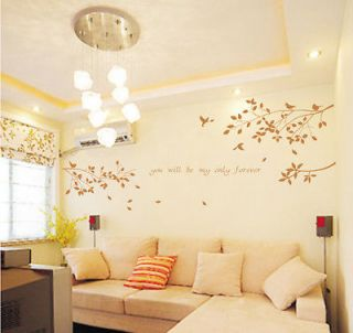 Wall Decor Decal Sticker Removable tree branches birds brown