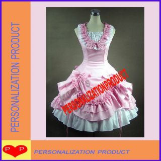 Sweet gothic lolita pink Ball Gown Prom Cosplay Knee Length Dress