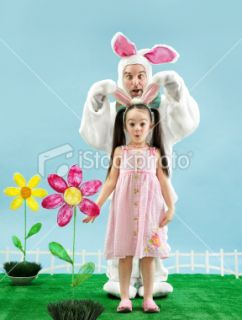 stock photo 15438517 bunny and little girl