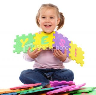 stock photo 15384506 little girl put together yes