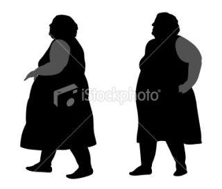 Obèse, Silhouette, Femmes, Personne, Noir Illustration vectorielle