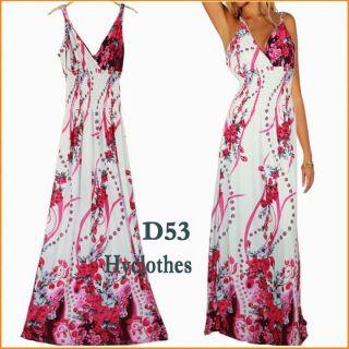 Fashion womens summer Pink beach holiday Party BOHO long maxi dress