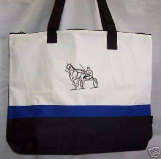 harness racing horse black blue tote bag sulky new time