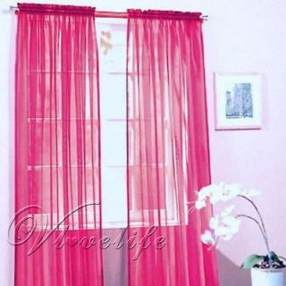 Newly listed 2 Hot Pink Solid Sheer Voile Window Panel Curtain Drape