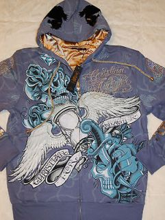 NWT mens Ed Hardy Christian Audigier Pirate Skull hoodie jacket L blue
